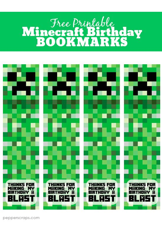 graphic about Minecraft Bookmarks Printable called Free of charge Printable Minecraft Birthday Bookmarks Something
