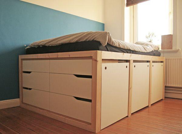 Diy Ikea Hack Plattform Bett Selber Bauen Aus Ikea Kommoden Werbung Holzbauen Anleitung Fur Ein Hohes Bett Aus Ikea Kommod En 2020 Diy Ikea Lit Plateforme Ikea