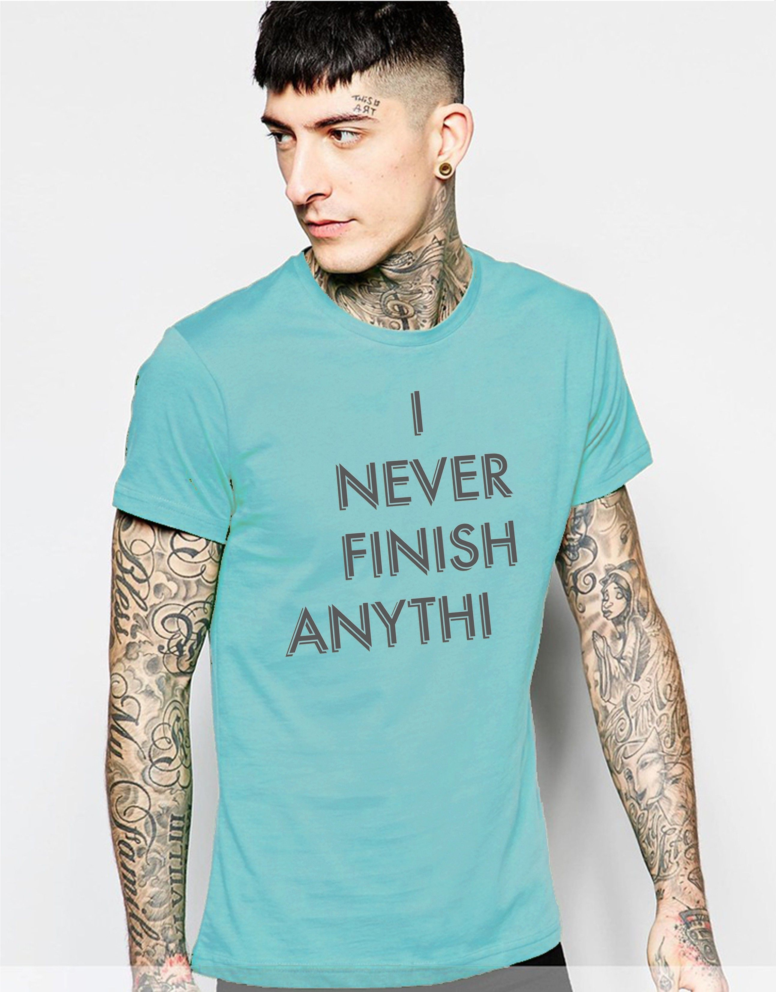 Young Trendz Printed Men's Round Neck T-Shirt - Buy Light Blue ...