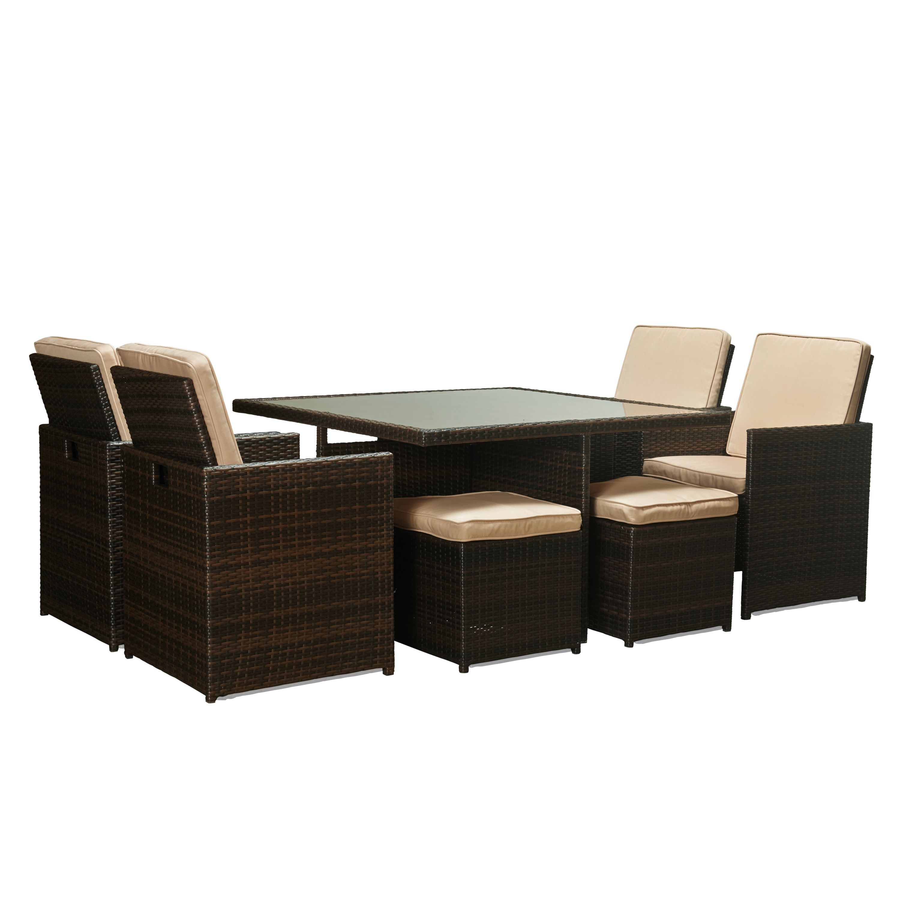 The aluminum wicker dining set includes four chairs four foot