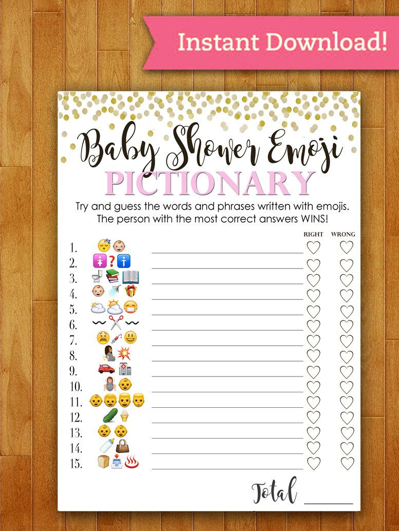 Baby Shower Game Pictionary EMOJI Pictionary Coral/PINK ...