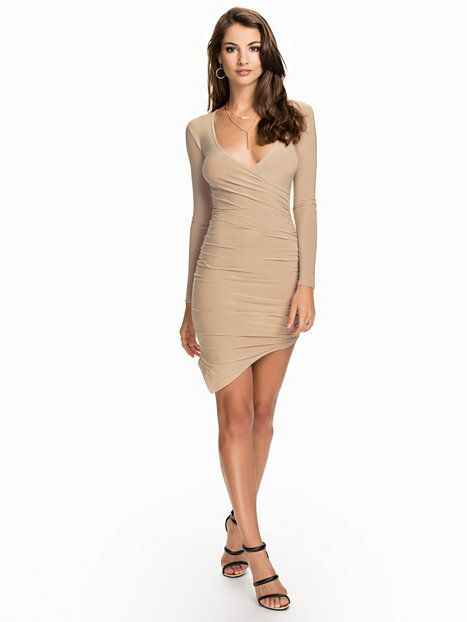 e70959089017 Ruched Wrap Dress - Nly One - Beige - Festklänningar - Kläder - Kvinna -  Nelly