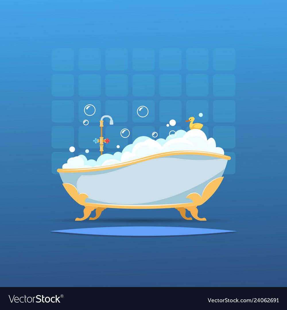 Cartoon Bathtub Bath Bubble Foam Bathroom Flat Interior Shower Hot Water Cute Wash Duck Vector Bathroom With Full Bat Cartoon Bubbles Cartoon Background Bath