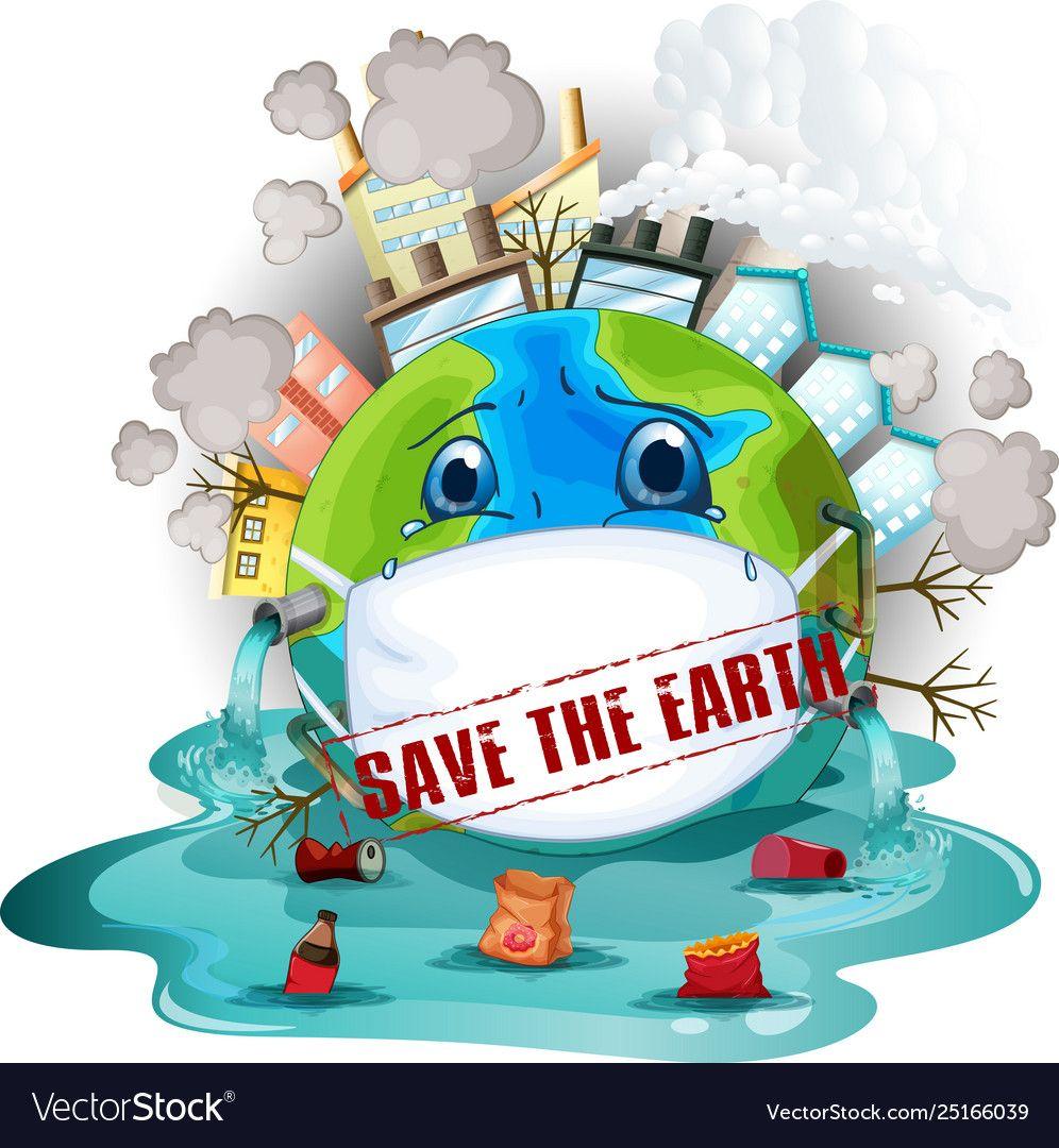 Save Earth Icon Vector Image On Ilustrasi Poster Gambar