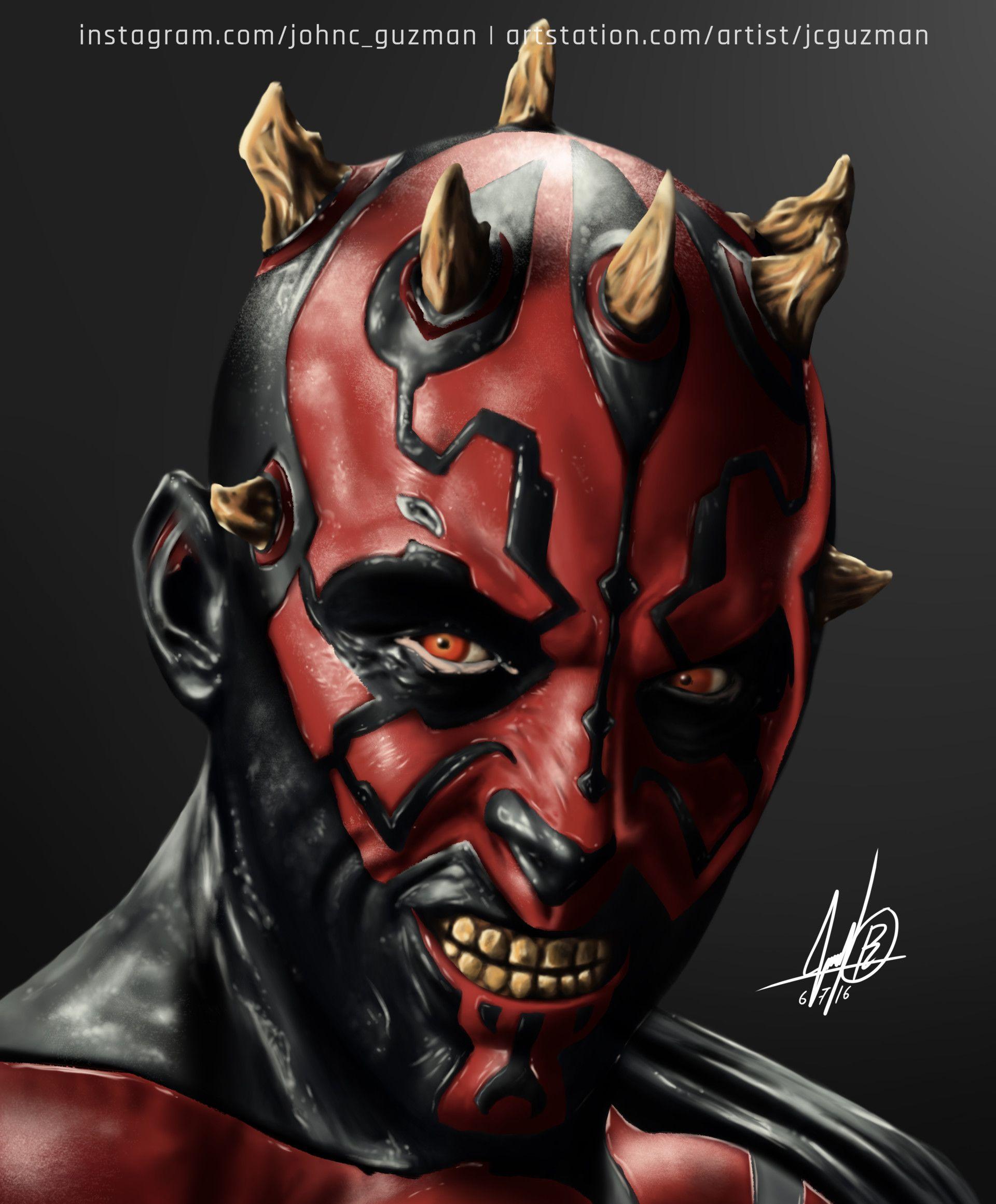 Artstation Darth Maul Portrait Juan Carlos Guzman Star Wars Drawings Star Wars Art Star Wars Tattoo