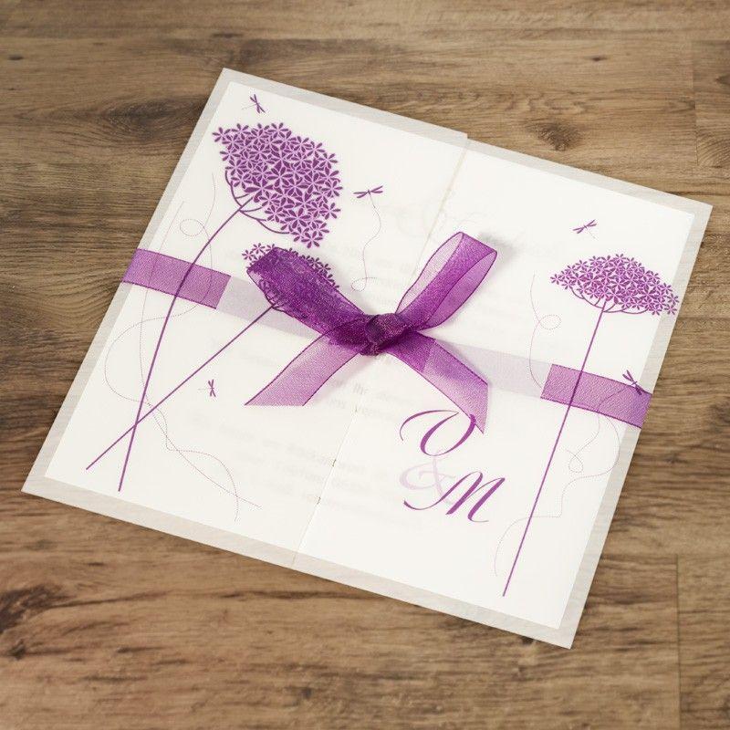 einladungskarte wedding invitation lila blumen. Black Bedroom Furniture Sets. Home Design Ideas
