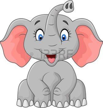 Safari Bebe Dibujos Animados Elefante Lindo Que Se Sienta Vectores
