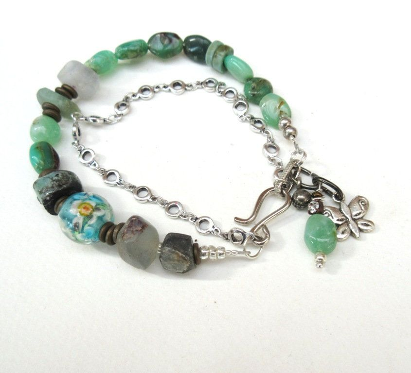 Accords Impeccables !!!!!! : Un bracelet 2 rangs contemporain et tribal, ethnique avec chrysoprase ...
