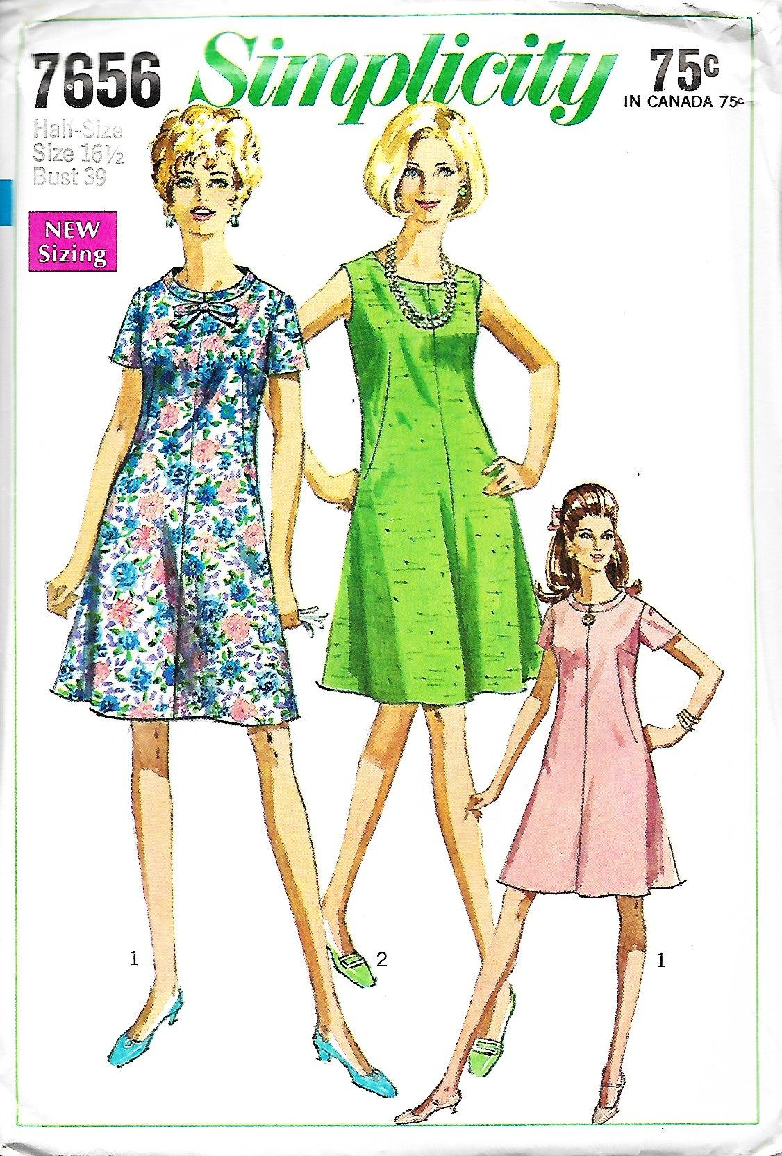 Us simplicity misses halfsize flared dress sewing pattern