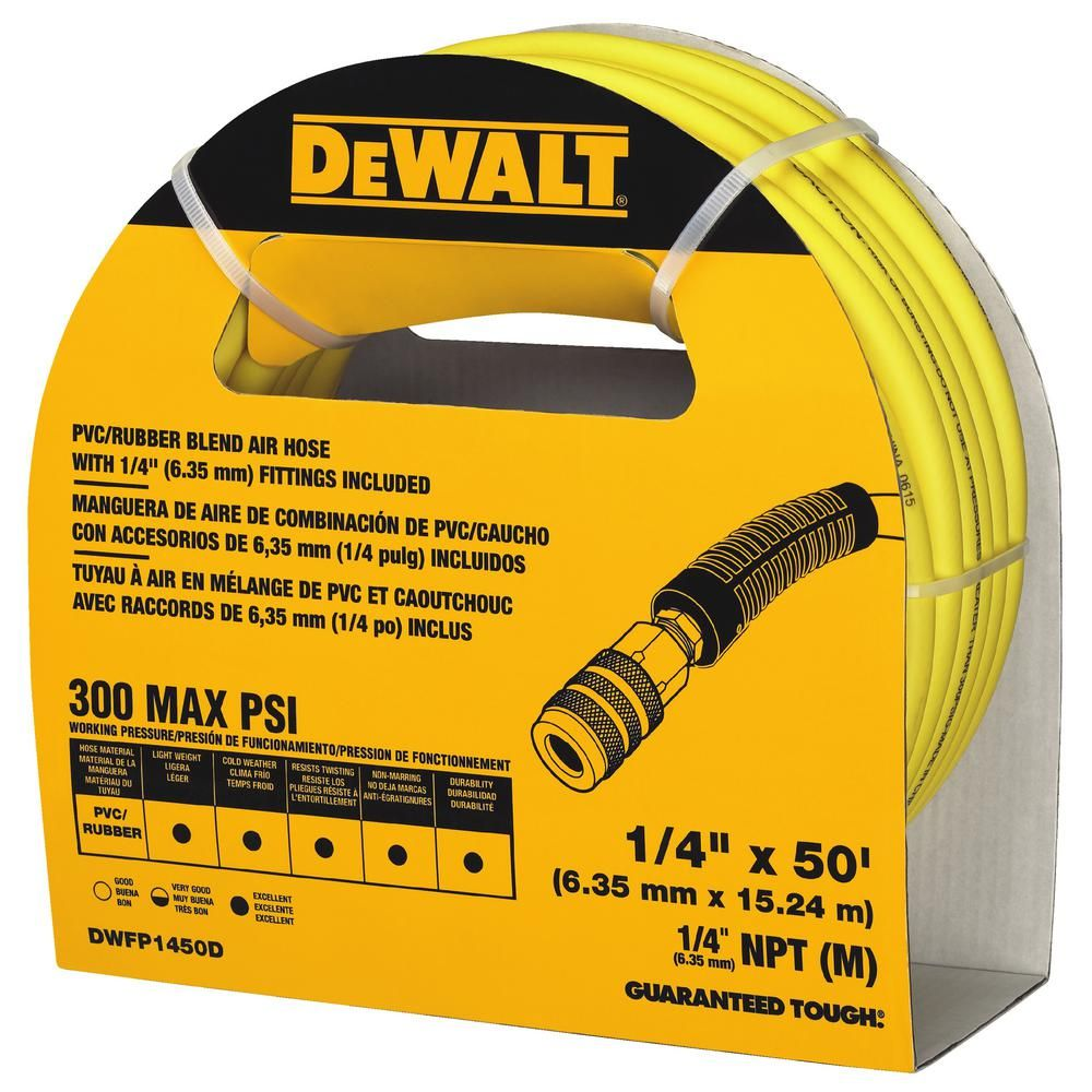 Dewalt 50 Ft X 1 4 In Air Hose Dwfp1450d In 2020 With Images Air Hose Dewalt Hose