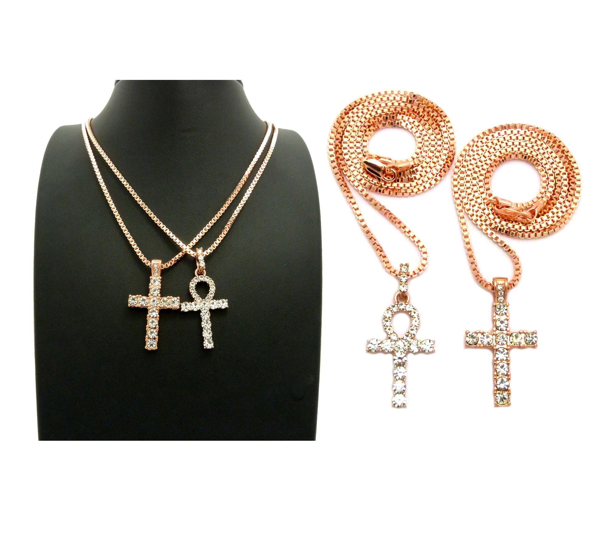 Iced out cross ankh cross pendant 24 box chains hip hop iced out cross ankh cross pendant 24 box chains hip hop necklace set rc2463 mozeypictures Gallery