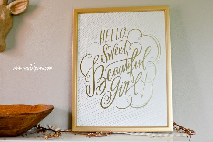 Lindsay letters print on sale at hobby lobby hello sweet beautiful girl gold print