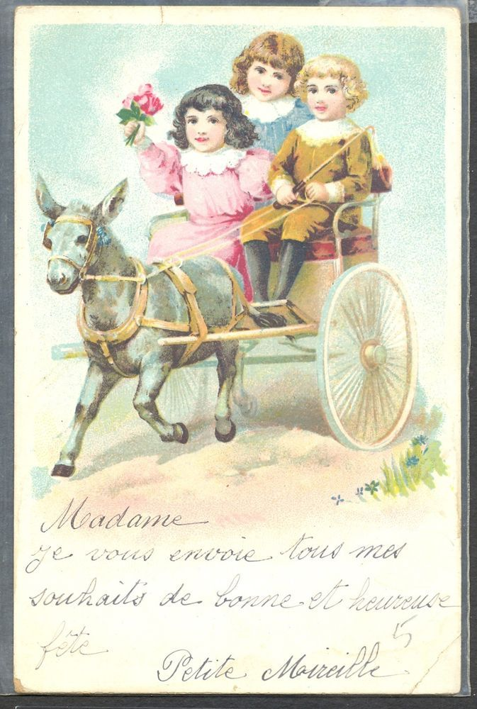 PA154 GROUP of VICTORIAN CHILDREN HITCH DONKEY Fine LITHO 1906