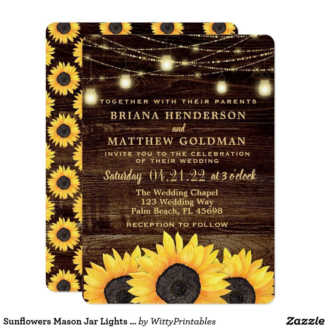 Sunflowers Wedding Mason Jar String Lights Glam Barn Wood