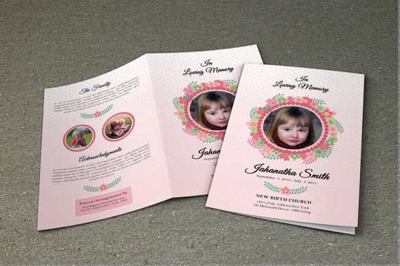 Child Funeral Program Template Memorial Program Obituary Program