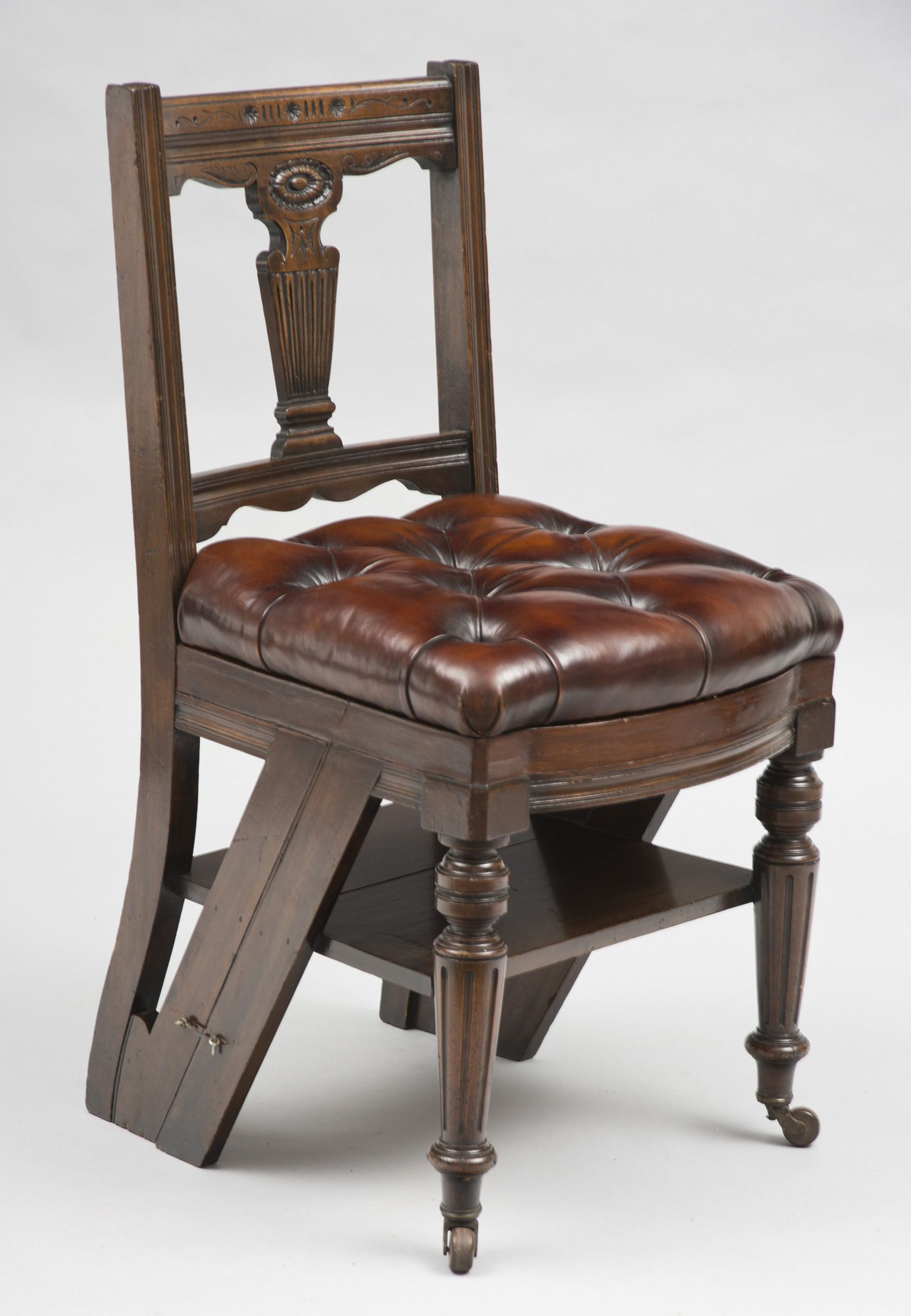 Metamorphic Chair and Library Steps Victorian mahogany