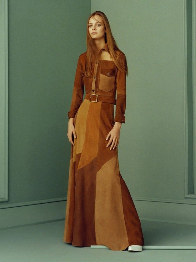 ce2b2238 Zara SS '15 lookbook featuring a '70s inspired suede patchwork maxi dress