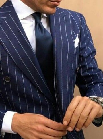 Men's Suit-Suit Up! Navy Blue Pinstripe-Dapper a cutaway collar can just ruin the look