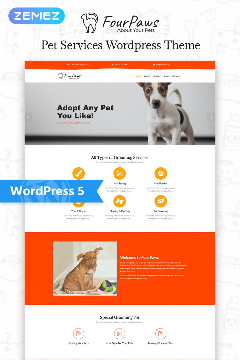 Four Paws Pet Services Multipurpose Classic Elementor Wordpress Theme 77545 Service Animal Wordpress Theme Pet Sitting Business