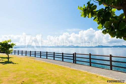 Flat coastal trail under sunshine in Okinawa, Japan , #AFFILIATE, #trail, #coastal, #Flat, #Japan, #Okinawa #Ad
