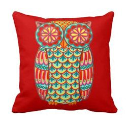 cute retro owl art throw pillow