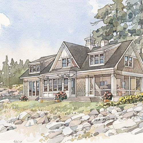 Top 10 House Plans   Coastal, House and Cottage living rooms
