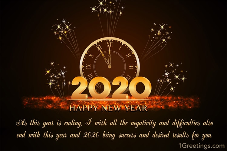 Happy New Year 2020 Greeting Card Fireworks (With images