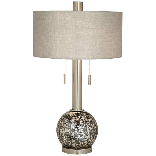 Empress Brushed Steel Smoke Glass Table Lamp - 31-Inch-H