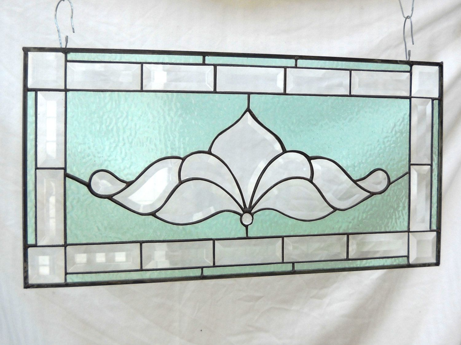 Stained Glass Panel Traditional Vintage Look Bevel Window Treatment. $109.95, via Etsy.