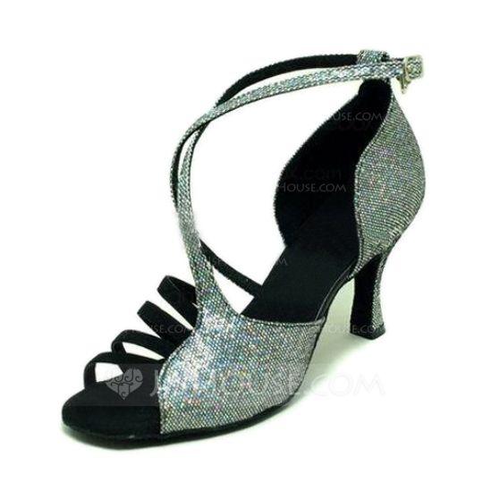 Women's Sparkling Glitter Sandals Latin Ballroom Dance Shoes