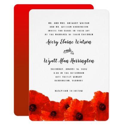 Red Poppy Border Parents Names Wedding Invitation Zazzle