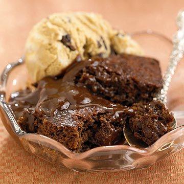 creamy chocolate cake and vanilla icecream