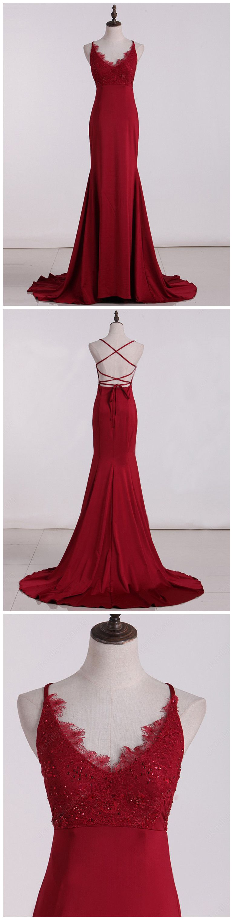 mermaid prom dresses spaghetti straps red prom dress evening