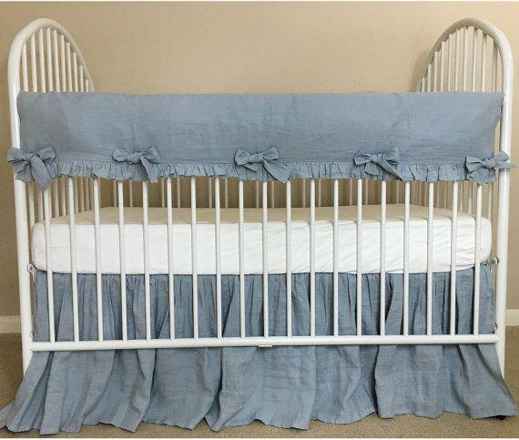 Duck Egg Blue Crib Rail Guard With Linen Crib Skirt Bumperless Baby Bedding Rail Protector Blue Baby Bedding Blue Crib Crib Rail Crib Rail Guard