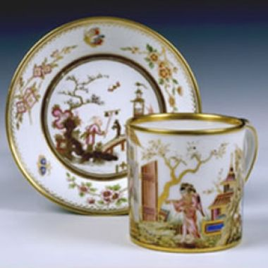 Tableware: An Exceptionally Fine Hard-Paste Sèvres Chinoiserie Cup & Saucer, 1779