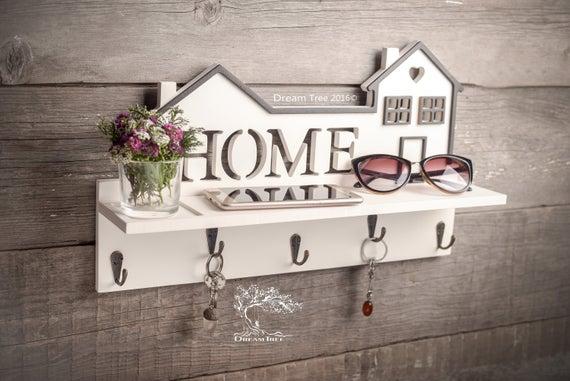 Holder For Keys Shelf For Keys Sozy Home White Etsy Wood