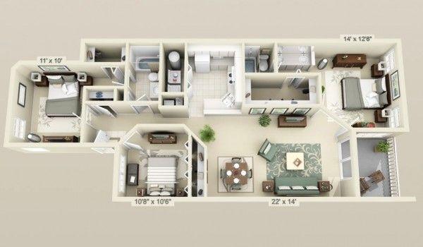 3 Bedroom Apartment House Plans Haus Design Plane Luxusschlafzimmer Immobilien Wohnung