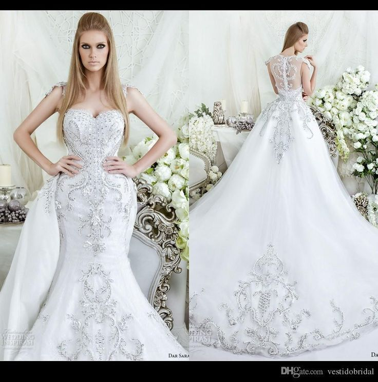 Gorgeous 2018 Lace Mermaid Wedding Dresses With Detachable Train Sheer Scoop Nec #grecianweddingdresses