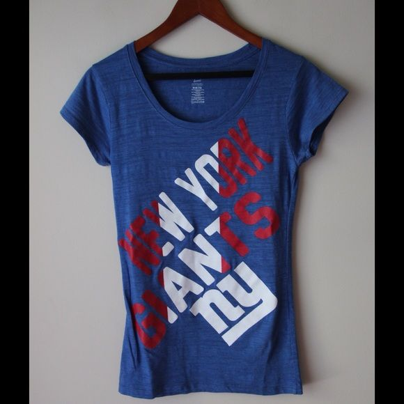 """New York Giants tee NFL New York Giants tee - graphic text print - polyester/cotton - chest across measures 15"""" - total length measures 27"""" - tag says M but fits like S NFL Apparel  Tops"""
