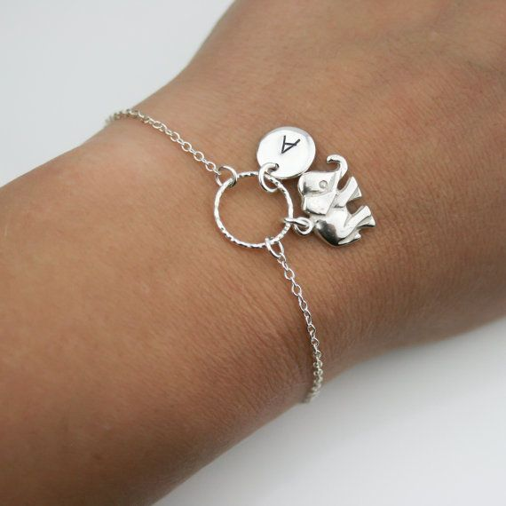 Adjustable Personalized Elephant Bracelet in Sterling ...