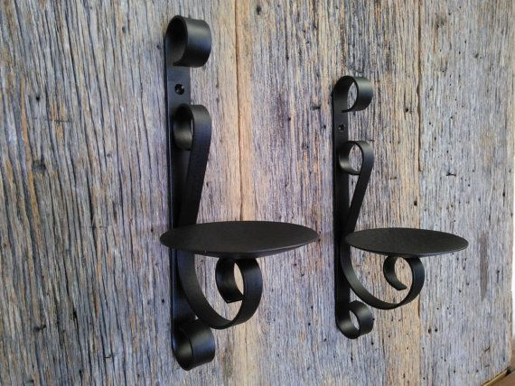 Elegant Two Metal Candle Holders Rustic Black Wrought Iron Wall Sconce For Pillar  Candles (set Of Two)