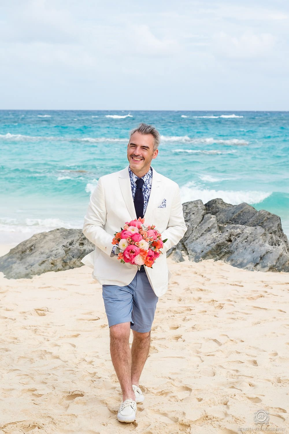 Bermuda Destination Wedding Groom in Bermuda shorts for beach ...