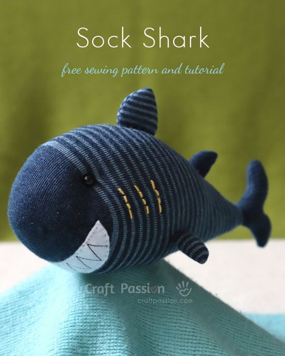 Sock Shark | Free Stuffed Plush Toy Sewing Pattern & Tutorial