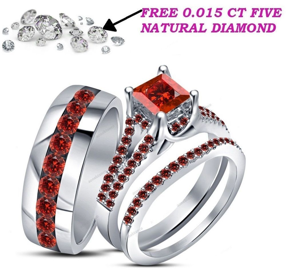 4 30 Ct Red Garnet Trio Wedding Ring His Hers Bands Set And 10k White Gold Over Ao Garnet Wedding Rings Wedding Rings Sets His And Hers Wedding Ring Trio Sets