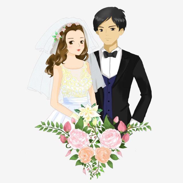 مرسومة باليد العريس عروس باقة أزهار مواد الصور Png و Psd Bride Clipart Bride Bouquets Bride Groom