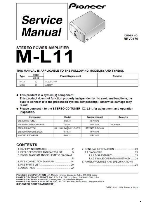 pioneer m l11 power amplifier original service manual hi fi rh pinterest co uk Pioneer 980 Amp M Pioneer M 90