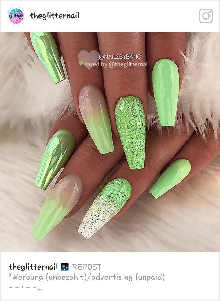 Pin By Jenika Cork On Nails Green Nails Nail Designs Coffin Nails Long