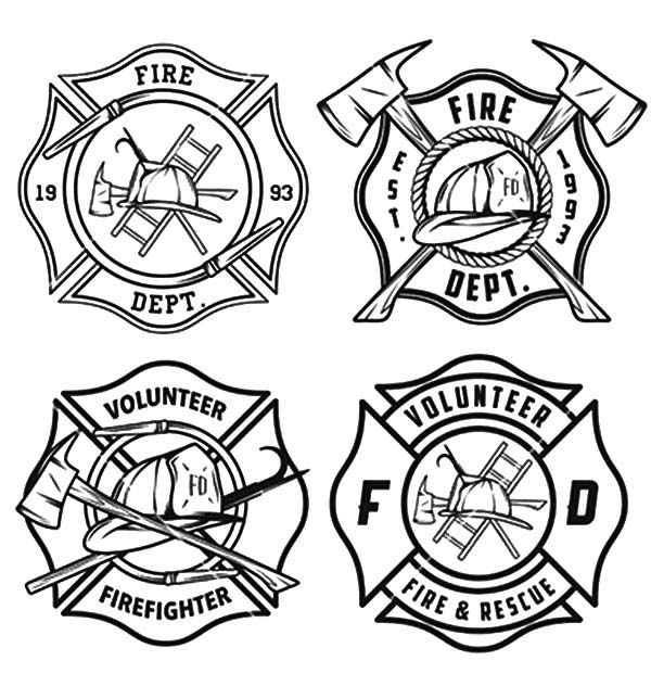 Maltese Cross Print Coloring Page Print Fire Fighter Tattoos