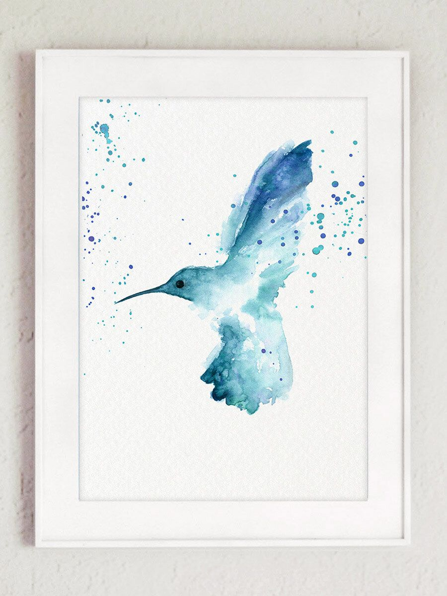 Hummingbird Art Print, Garden Bird Giclee Fine Art, Wildlife Home Decor,  Blue Nursery