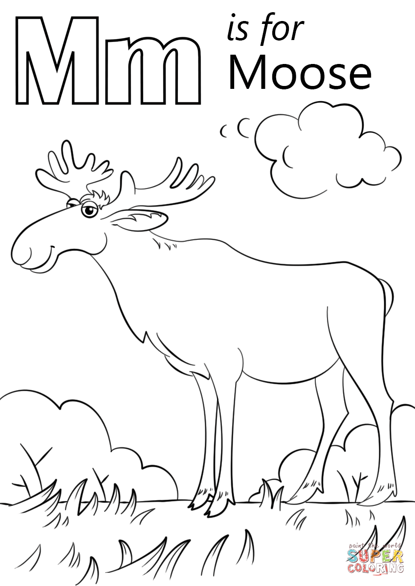 Letter M Is For Moose Coloring Page Free Printable Coloring Pages In 2020 Abc Coloring Pages Alphabet Coloring Pages Coloring Pages Inspirational